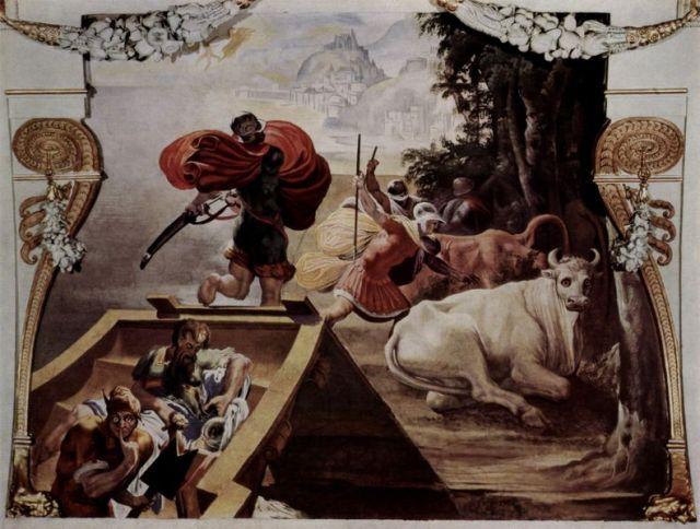 Die Gefährten des Odysseus rauben die Rinder des Helios