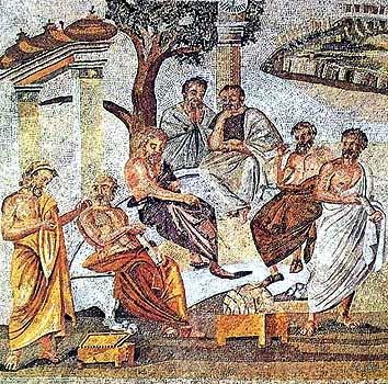 Platon inmitten seiner Schüler in der Akademie (Fußbodenmosaik aus Pompeji)