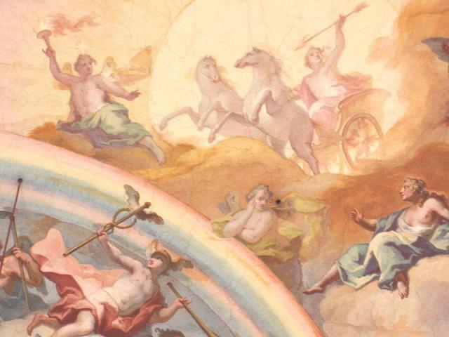 Helios im Sonnenwagen begleitet Phosphorus, Hermes u.a.