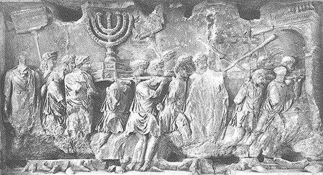 Darstellung der Plünderung des Tempels auf dem Titusbogen