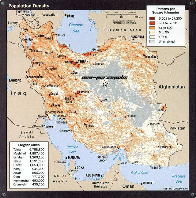 Iran Bevölkerungsdichte