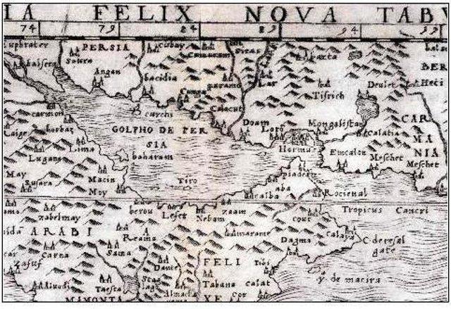 """Die Regionalkarte des italienischen Kartographen Giacomo Gastaldi aus dem Jahr 1548 gilt als erste """"moderne"""" Karte der Region und verwendet die Bezeichnung """"Golpho de Persia"""