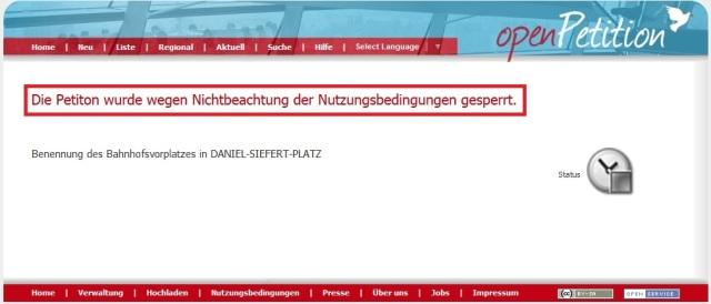 Open Petition - Daniel Siefert