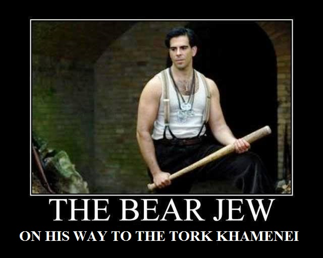 The bear Jew on his way beating the shit out of the turk and dictator Khamenei