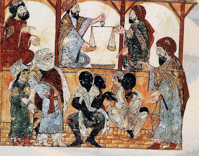 Medieval illustration of the Arab slave trade in West Africa, showing the abysmal state of native black people, while the mozlems work out how much they are worth.
