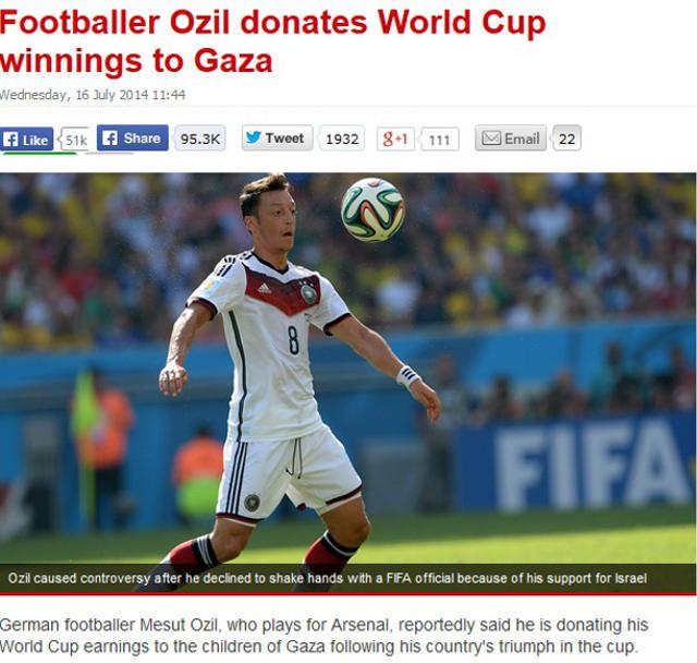Özil spendet WM-Siegesprämie für Gaza