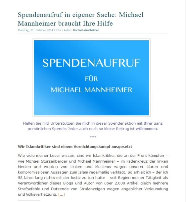 Michael Mannheimer braucht Ihre Spende