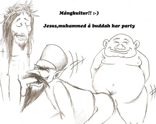 Jesus, Mohammed und Buddha feiern eine Party