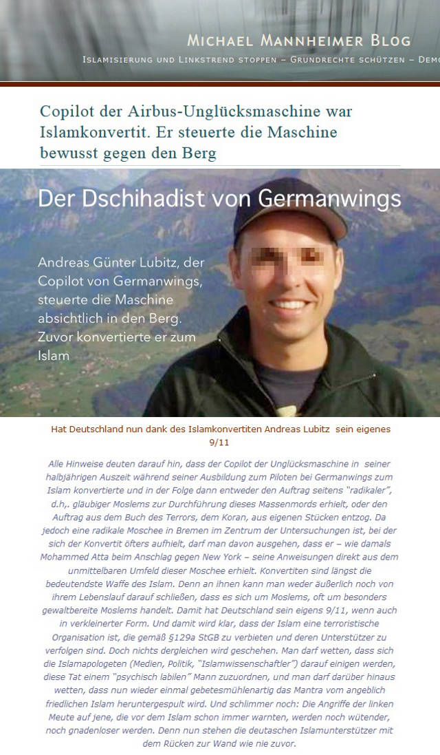 Michael Mannheimer German Wings - Lügen und Unwahrheit eines Christendeppen