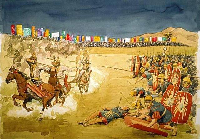 Kriegsführung der Parther gegen die einfallenden Römer