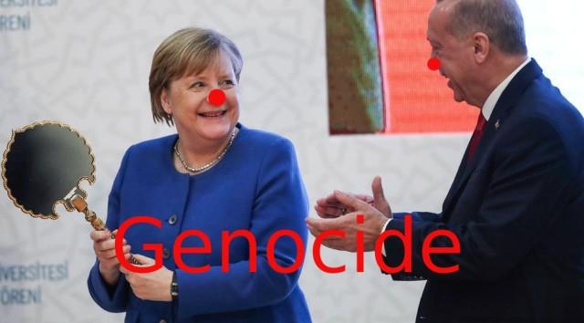 Protestantische Türkenschlampe Angela Merkel finanziert ethnische Säuberungen